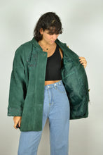 Load image into Gallery viewer, Women Green Suede Jacket Large L
