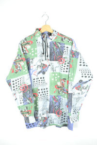 80s Printed Half Zip Shirt Large L