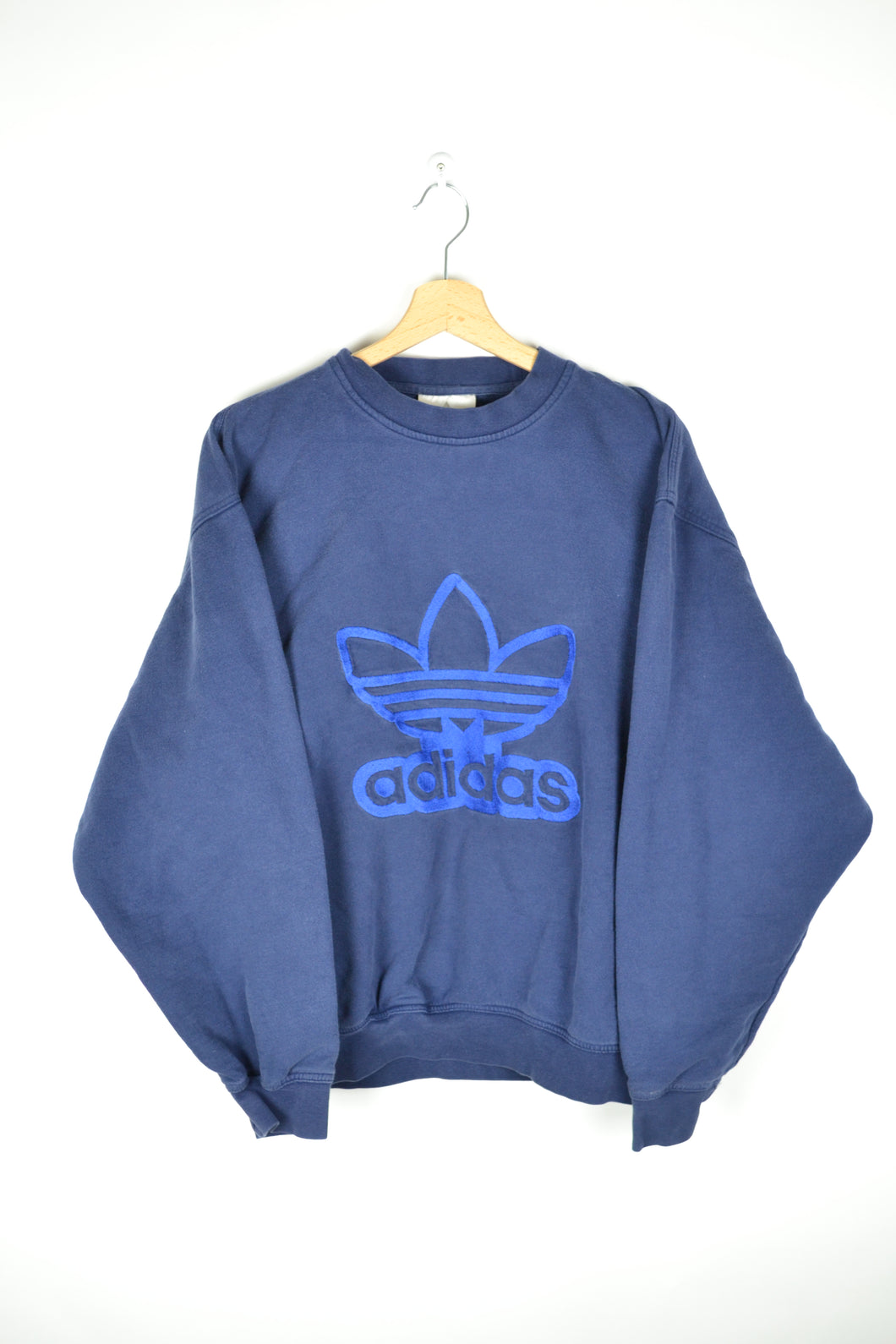Vintage 90s - Spell out adidas Blue Sweatshirt - Size L