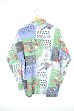 Load image into Gallery viewer, 80s Printed Half Zip Shirt Large L