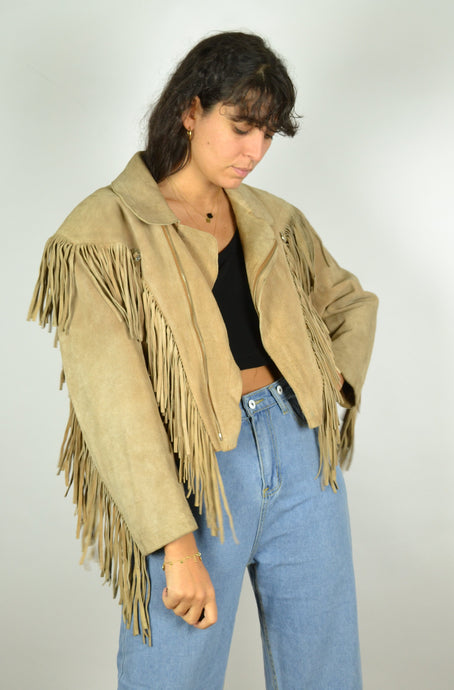 Real 70s Cropped Fringed Leather Jacket Medium M