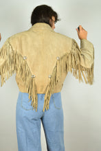 Load image into Gallery viewer, Real 70s Cropped Fringed Leather Jacket Medium M