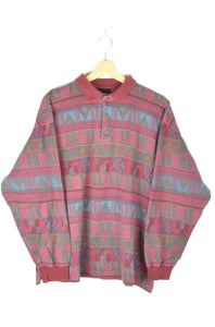 Abstract Patterned Polo Sweatshirt 80s M L