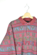 Load image into Gallery viewer, Abstract Patterned Polo Sweatshirt 80s M L