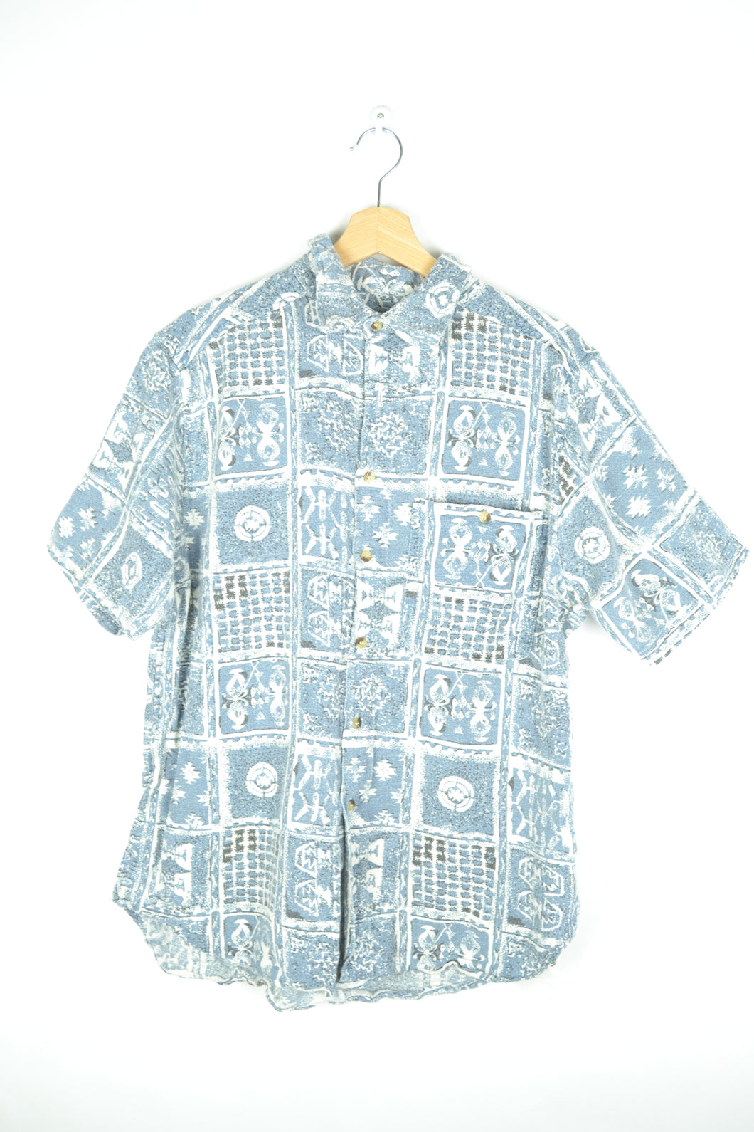 70s Abstract Patterned Blue Summer Shirt M