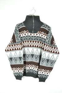 Abstract patterns Half Zip Sweater XL