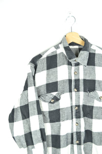 Plaid Flannel Shirt Black/White M