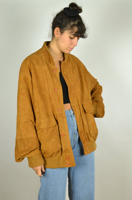 Brown/Orange Suede Bomber Jacket Oversized XL XXL