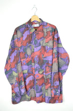 Load image into Gallery viewer, Crazy Patterned Silk Men Shirt Purple/Red large L