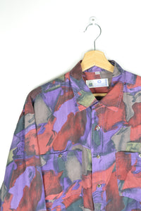 Crazy Patterned Silk Men Shirt Purple/Red large L
