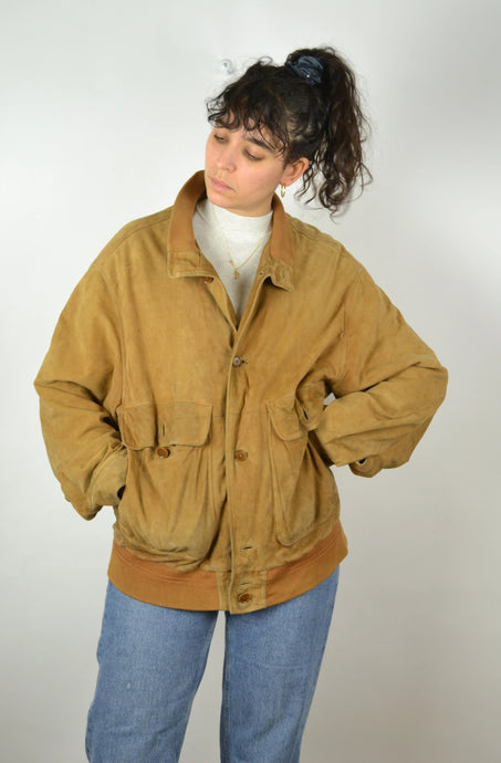 Brown Suede Bomber Jacket Vintage 80s Large L