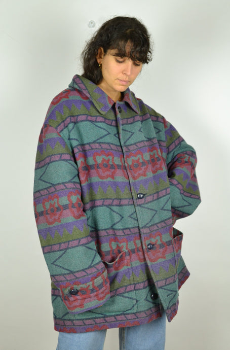 Colorful Aztec Patterned Wool Jacket 2XL