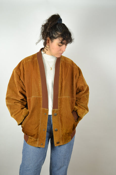 Brown Suede Jacket vintage 80s XL