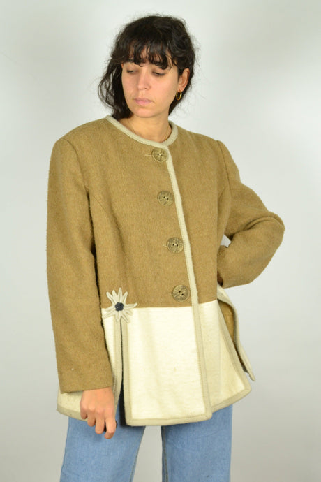 70s Bavarian Women Wool Jacket Large L