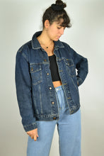 Load image into Gallery viewer, Dark Blue Denim Bomber Jacket Medium M