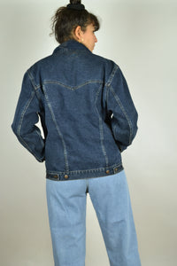 Dark Blue Denim Bomber Jacket Medium M
