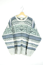Load image into Gallery viewer, 80s Patterned Sweater Blue/Grey XL
