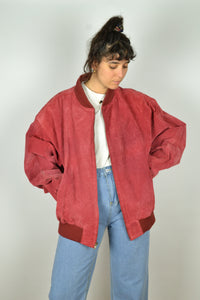 Red Zipped Suede Bomber XL XXL