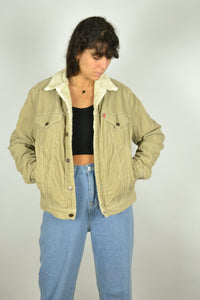 90s Levi's Beige Corduroy Aviator Jacket Medium M