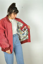 Load image into Gallery viewer, Red Zipped Suede Bomber XL XXL