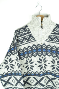 Half Zip Abstract patterned Sweater Large L