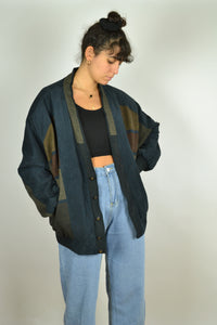80s Wool Suede Bomber Jacket XL
