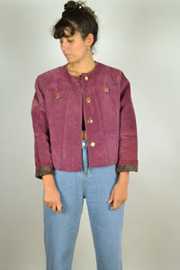 80s Pink Fitted Suede Jacket Women Medium M