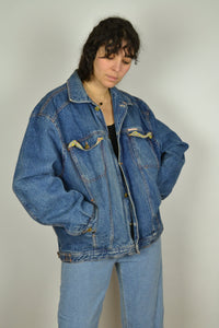 Vintage 80s - Lined Denim Bomber Jacket - Size L