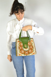 70s embroidery hand bag