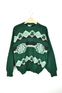 Vintage 90s - Abstract Patterned Green Sweater - Size M/L