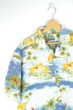 Load image into Gallery viewer, 80s Hawaiian Shirt Tropical Print Shirt Palm Tree Large L