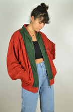 Load image into Gallery viewer, Red & Green 80s Suede Bomber Jacket Large L XL