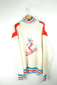 70s Ski Turtle Neck Sweater Large L XL