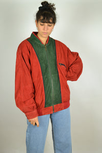 Red & Green 80s Suede Bomber Jacket Large L XL