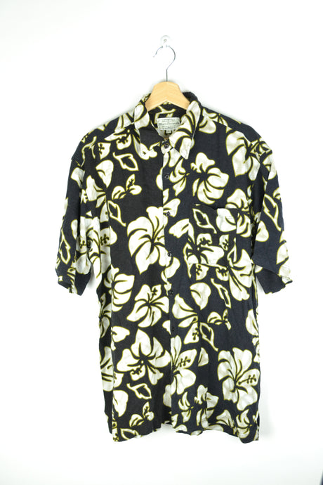 80s Hawaiian Printed shirt Black/Green/White XL