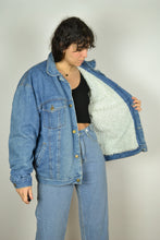 Load image into Gallery viewer, Vintage 90s - Lined Denim Bomber Jacket - Size M