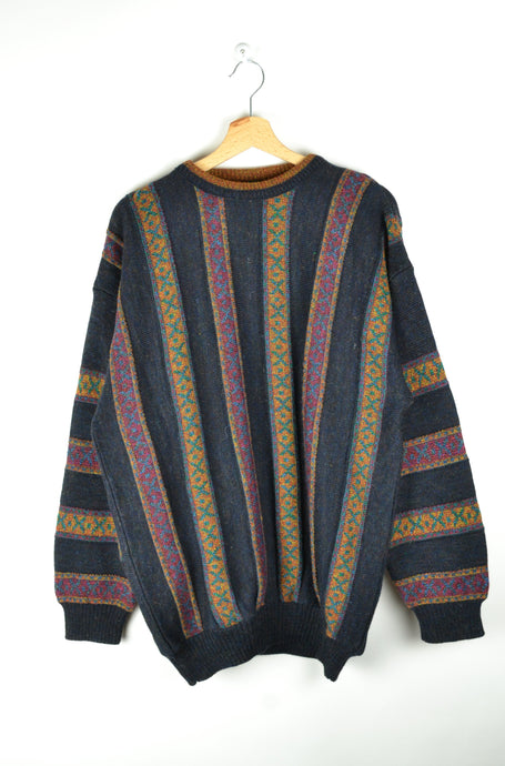 80s 90s Patterned Sweater Oversized XL