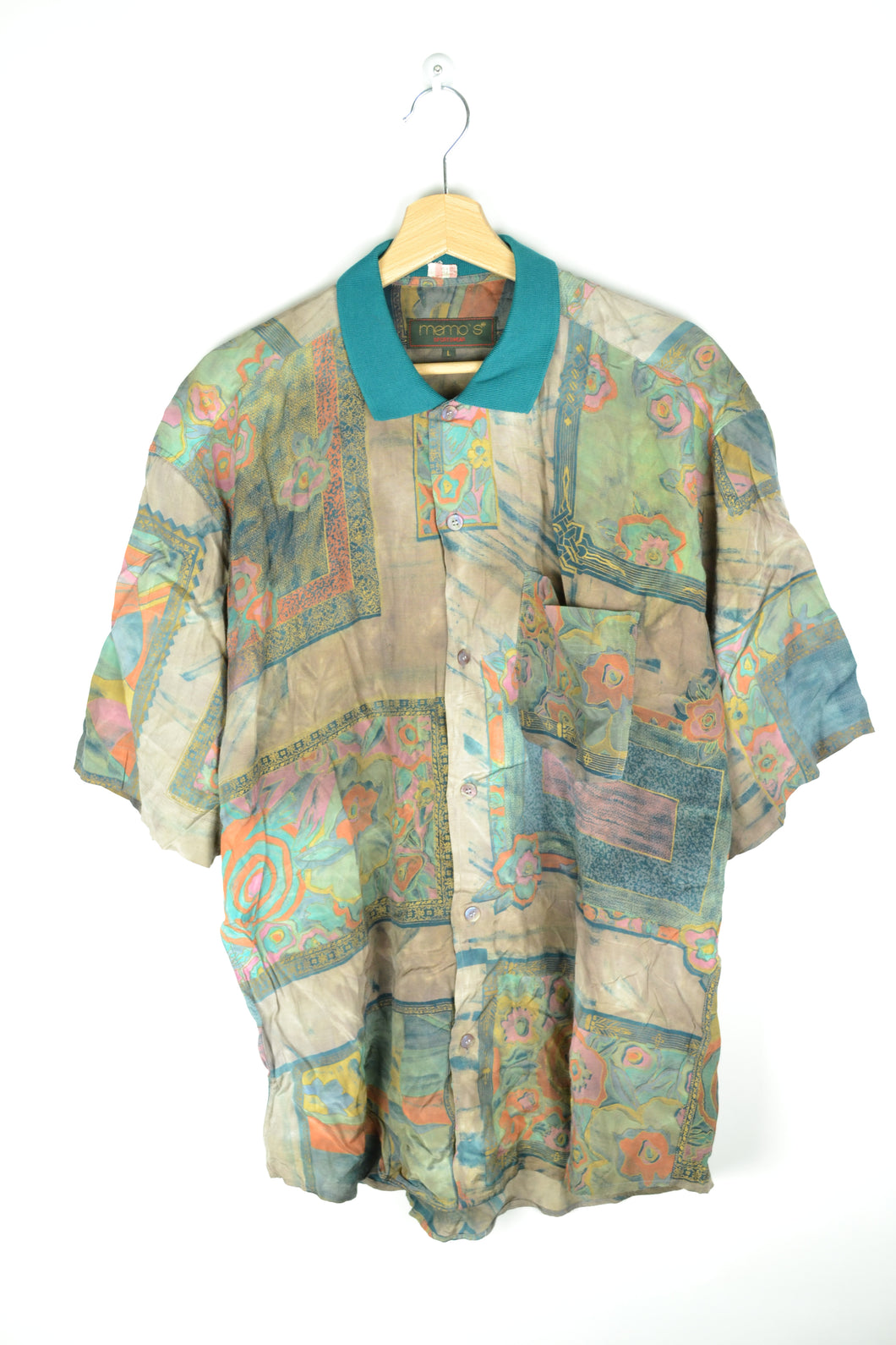 80s Printed Turquoise Men Shirt Large L