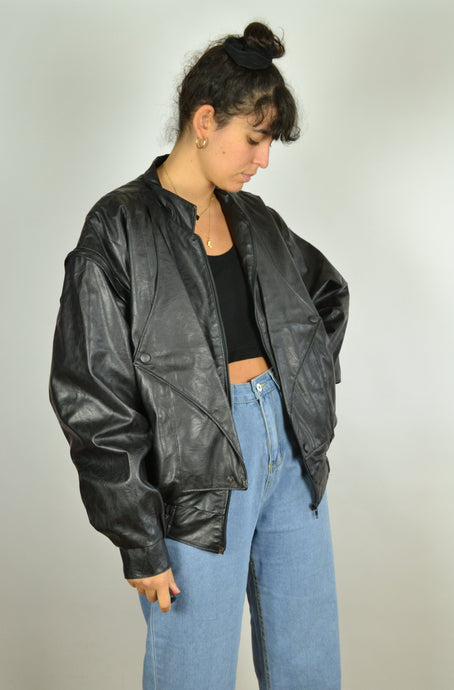80s Leather Biker Bomber Jacket Medium M