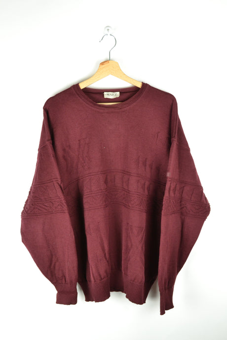 90s MÄRZ Red Sweater virgin Wool Oversized XL
