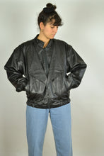 Load image into Gallery viewer, 80s Leather Biker Bomber Jacket Medium M