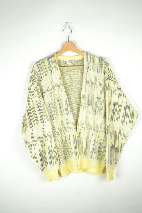 Vintage 70s/80s - Pastel Yellow Cardigan - Size M