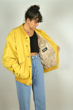 Load image into Gallery viewer, Light Yellow bomber Jacket Medium M L