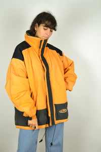 90s Neon Orange Parka Zipped Jacket Large L