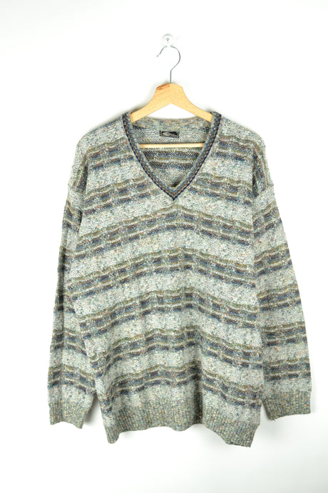 90s V-collared Sweater Large L
