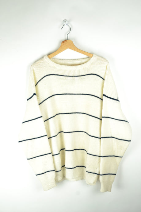 Blue Striped White Sweater Large L