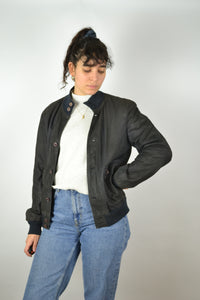 Blue Suede Jacket Vintage 80s Small S