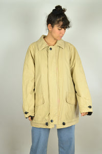Long Beige Padded Jacket Large L