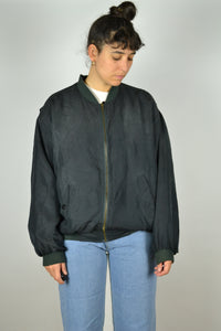 Black Silk Bomber Jacket Large L