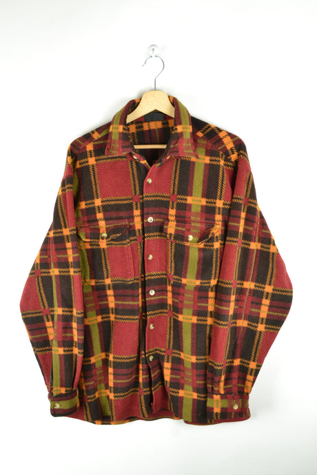 80s Checkered Red/Yellow Fleece Shirt Large L